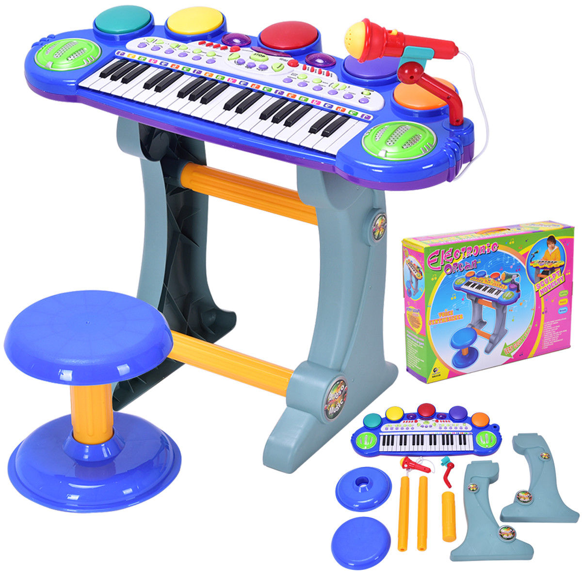 Costway 37 Key Kids Musical Electronic Keyboard Organ Piano Microphone Synthesizer Stool by Costway
