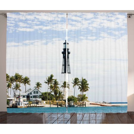United States Curtains 2 Panels Set  Hillsboro Lighthouse Pompano Beach Florida Atlantic Ocean Palms Coast  Window Drapes For Living Room Bedroom  108W X 108L Inches  Blue White Green  By Ambesonne