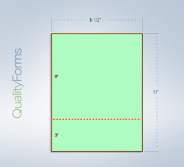"""8-1/2 x 11 Green 24# Paper 1 Horizontal Perforation @ 3"""" from bottom"""