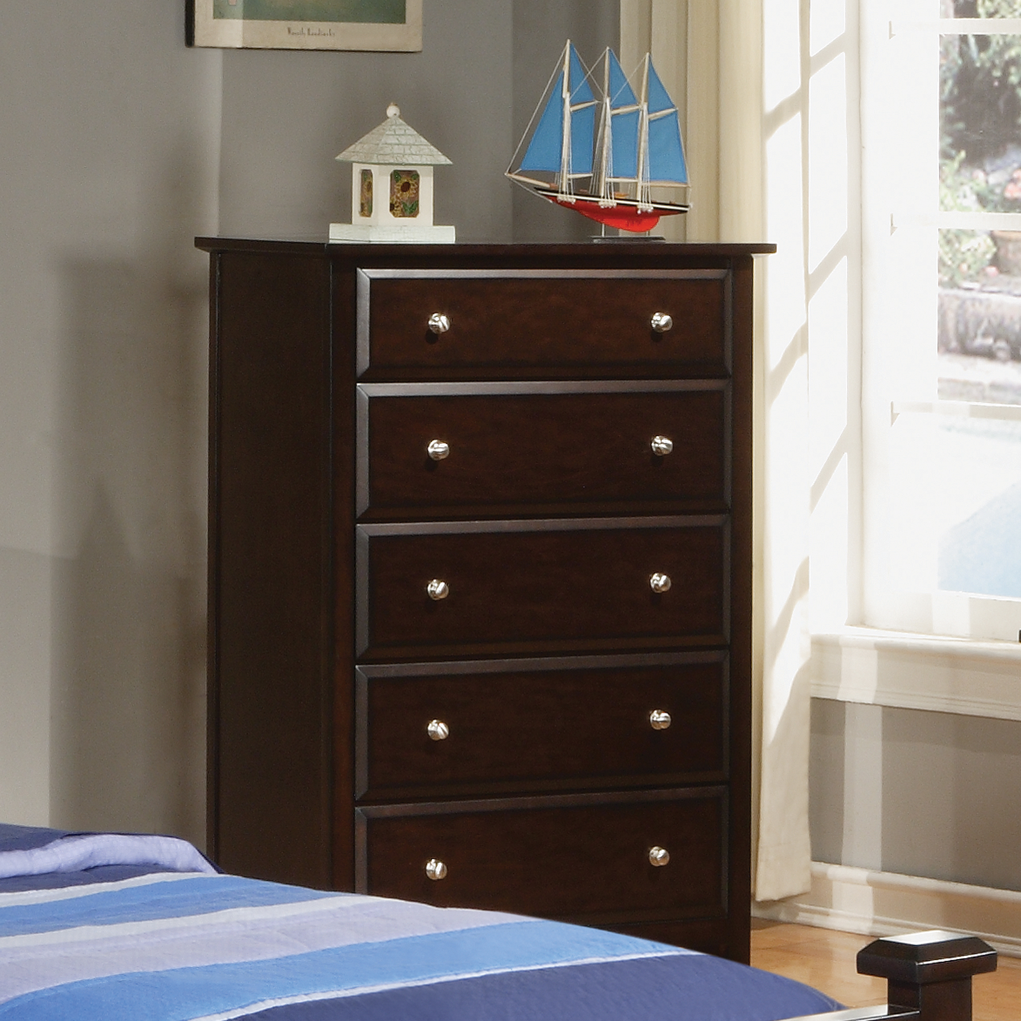 Coaster Jasper Tall Chest with 5 Drawers, Cappuccino