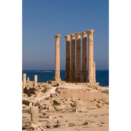 Ancient Architecture With Sea In The Background Sabratha Roman Site Libya Poster Print By Sergio Pitamitz