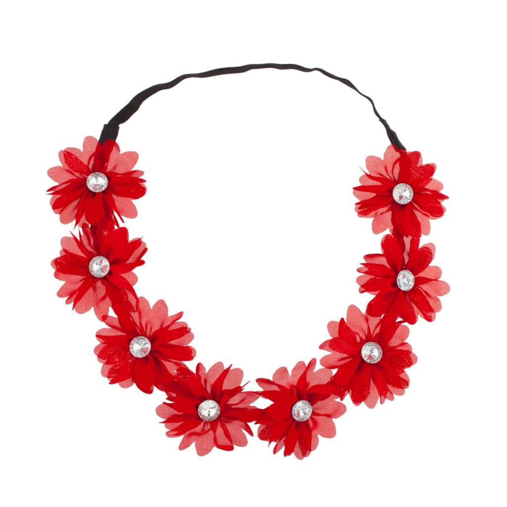 Lux Accessories Stretch Fit Floral Headband Head Crown Flower Crown Head Piece Ruby Red