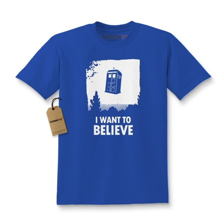 I Want To Believe Dr. Who Flying Tardis Kids T-shirt ()