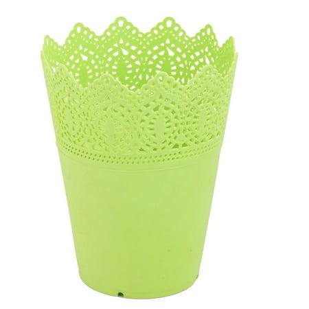 Outdoor Garden Plastic Hollow Design Flower Vase Flowerpot Plant Holder Green for Christmas ()