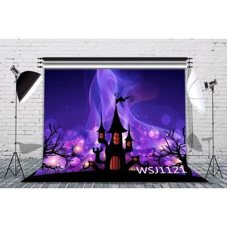 HelloDecor Polyster 7x5ft A Romantic Halloween Night Photography Backdrop Background Photo Background Studio Prop