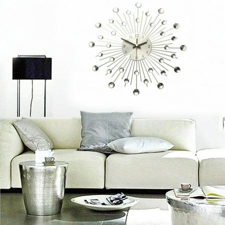 33cm Modern Wall Clock Gift Metal Sunburst Digital Wallclock Clear Diamante Crystal Beaded Jeweled Home Deco