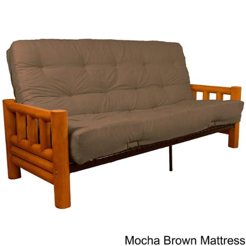 Yosemite Rustic Lodge Frame Inner Spring Futon Mattress Set Full Natural Frame with Mocha Brown Mattress