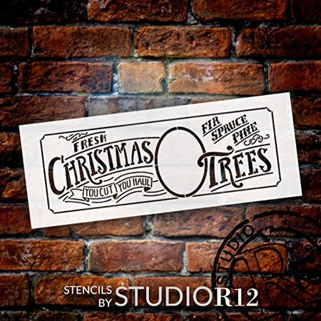Xmas Tree Template (Fresh Christmas Trees Stencil by StudioR12 | Elegant Christmas Word Art - Medium 13 x 5-inch Reusable Mylar Template | Painting, Chalk, Mixed Media | Use for Crafting, DIY Home)
