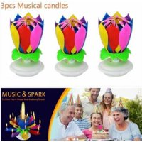 3PCS Colorful Happy Birthday Candle Musical Romantic Cake Topper Magical Flower Lotus Candle