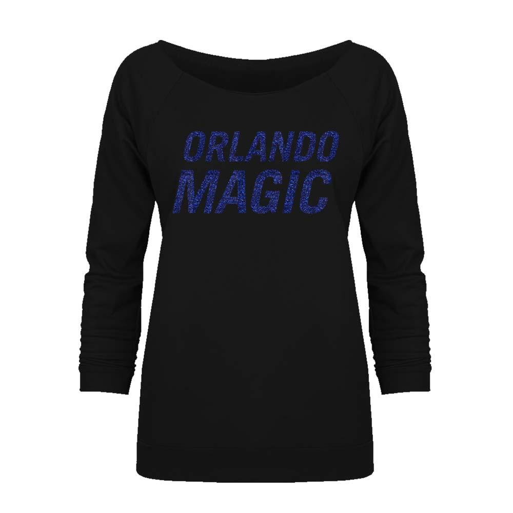 Orlando Magic Off the Shoulder Long Sleeve Pullover Fleece - Black