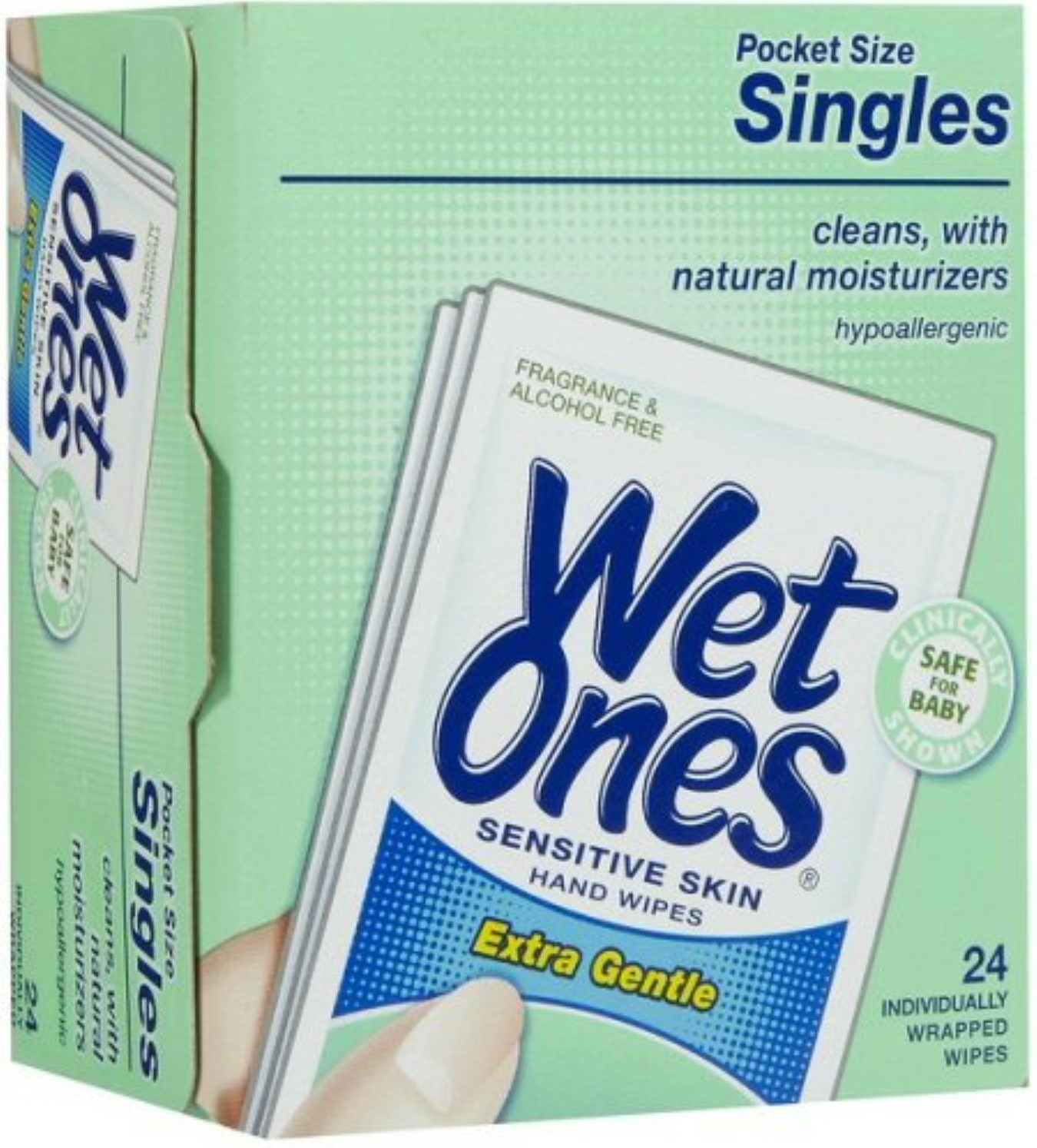 WET ONES Sensitive Skin Hand & Face Wipes, Singles, Fragrance Free  24 ea (Pack of 4)