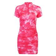 Women's Dress, Floral Midi, Short-Sleeve High-Cut Neck Tight Pleated Summer Girl's