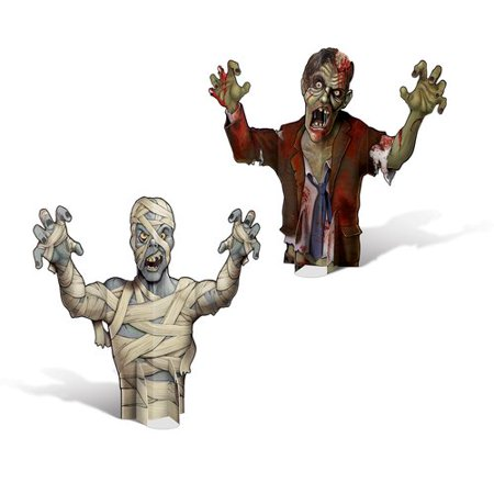 The Holiday Aisle Halloween 3-D Mummy and Zombie Centerpiece - Halloween Mummy Door Decorations