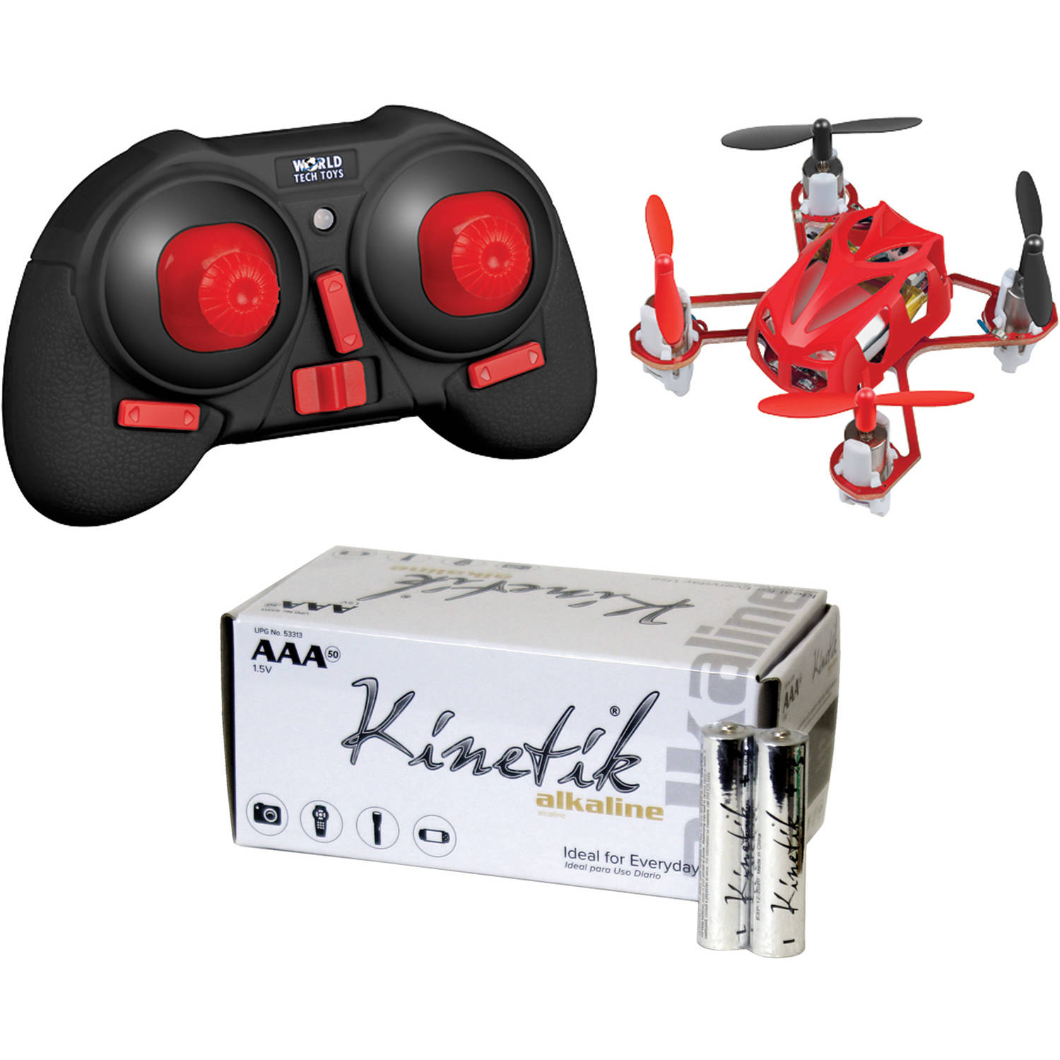 World Tech Toys 34452 4.5-Channel 2.4GHz Supernova Drone and Kinetik AAA Battery Kit, 50 Pack