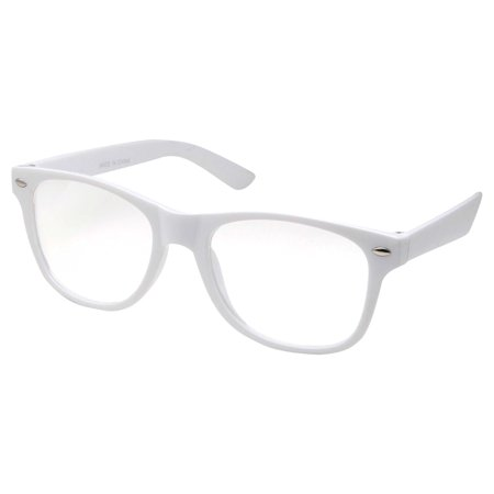 Small KIDS SIZE Retro Color Frame Clear Lens Glasses NERD Costume Fun Boys Girls (Age 3-10), White - Costume Contact Lenses