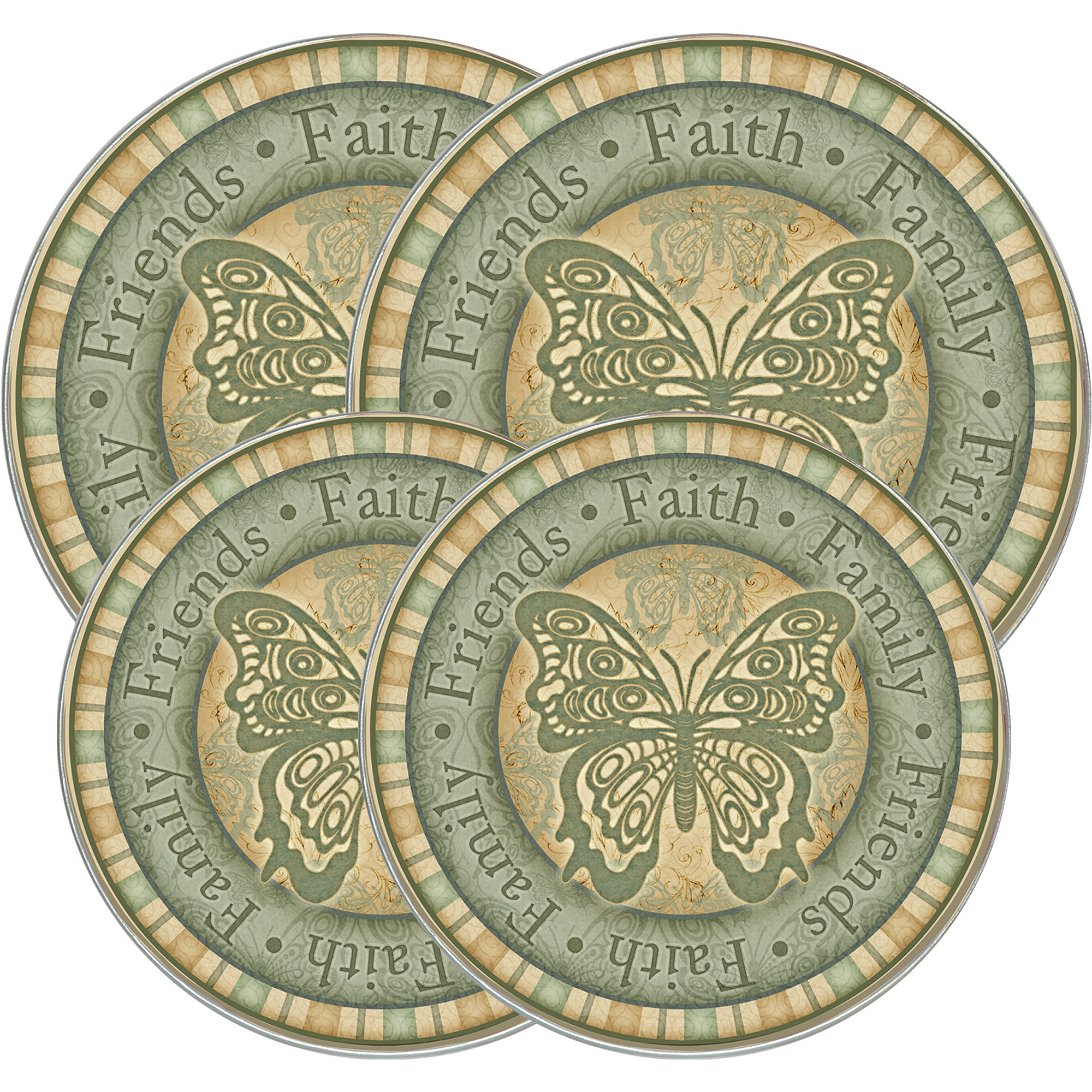 "Range Kleen 4-Piece Burner Kover Set, Round, Decorative ""Garden Butterfly"""