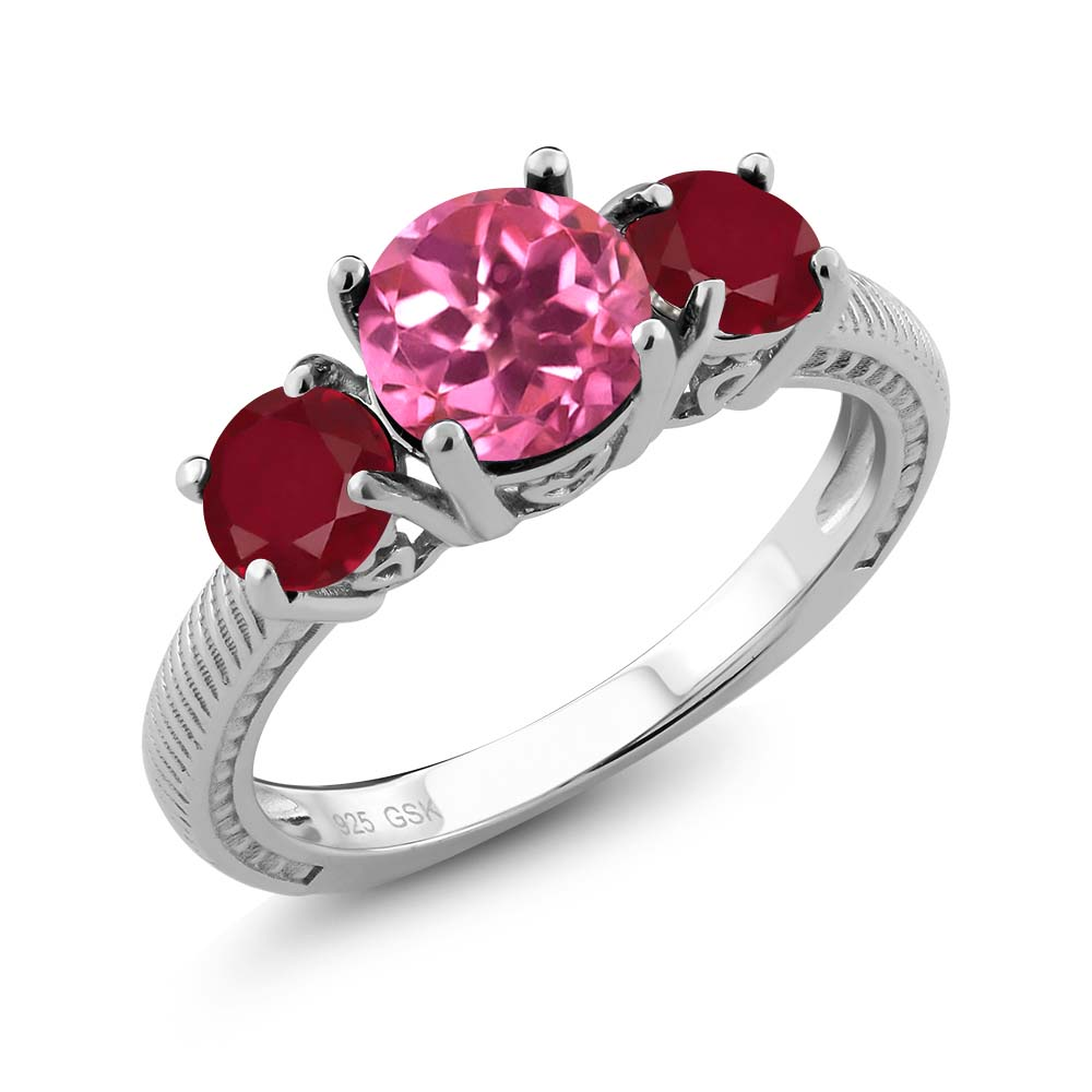 2.40 Ct Round Pink Mystic Topaz Red Ruby 925 Sterling Silver Ring by