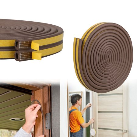 EEEKit Indoor Weather Stripping, 5M D-Type Draught Excluder Self Adhesive Rubber Seal Strip Foam for Windows Doors Soundproofing Weatherstrip Gap Blocker Epdm
