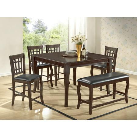 - Best Master Furniture Betty 6 Pieces Counter Height Set, Dark Cherry