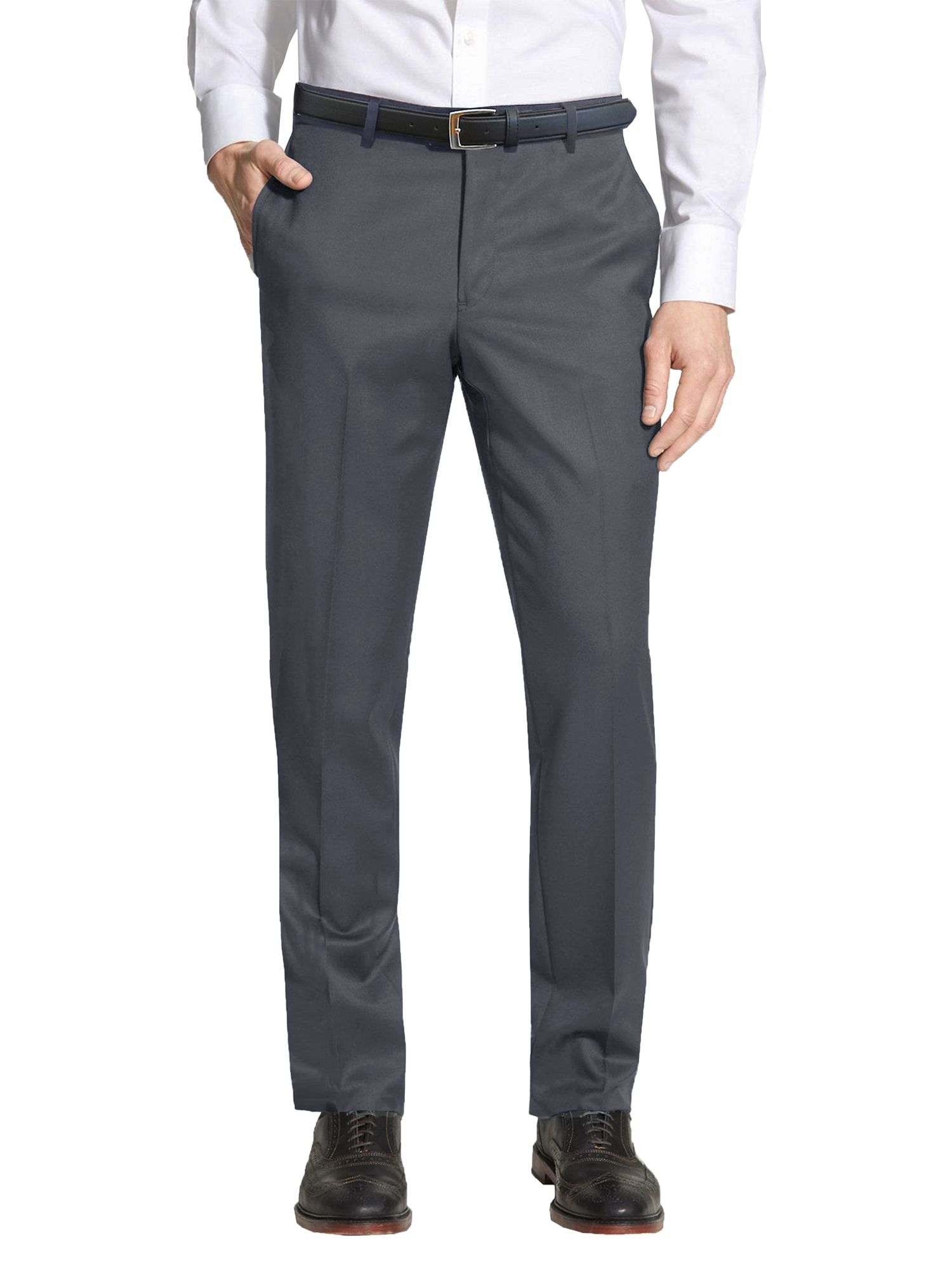 Men's Slim-Fit Belted Casual Dress Pants