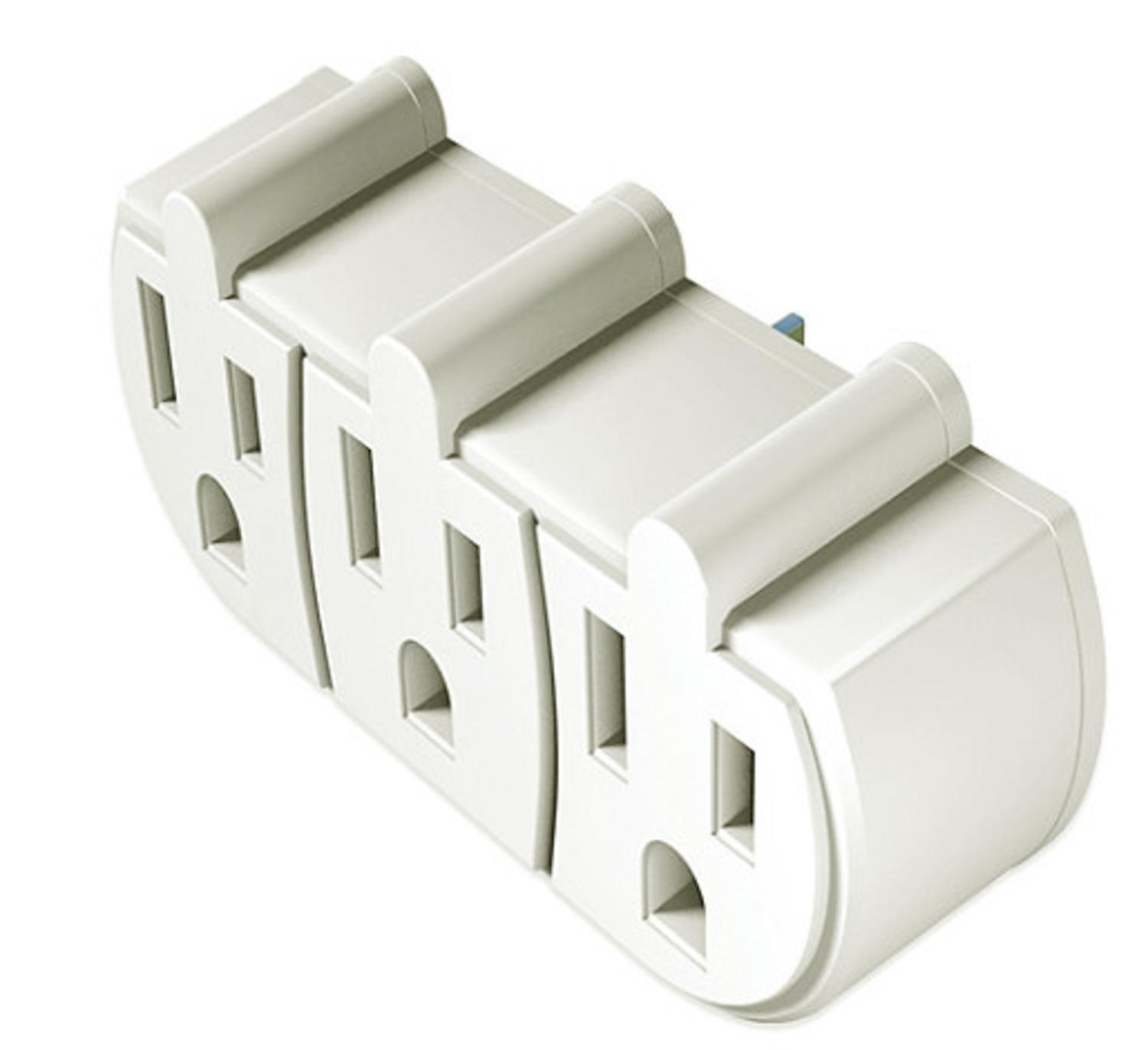 Stanley White 3-Prong Wall Adapter with 3 Grounded Outlets
