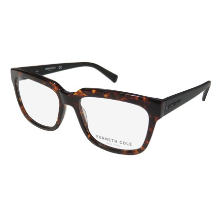 New Kenneth Cole 0256-B Mens/Womens Designer Full-Rim Tortoise / Matte Black Signature Emblem Fabulous Frame Demo Lenses 55-17-145 Spring Hinges (Designer Eyeglasses Los Angeles)