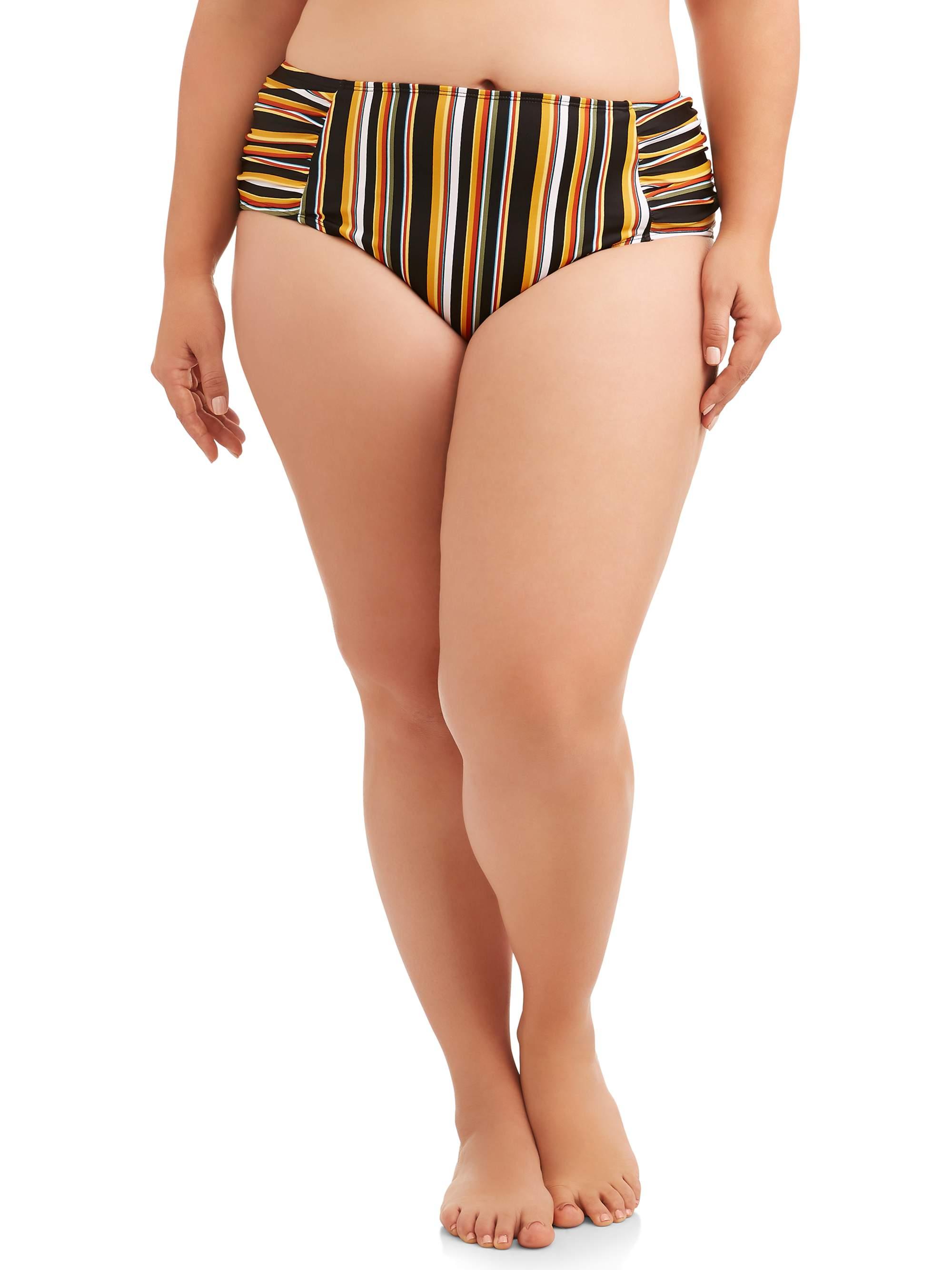 Women's Plus Size Spirit Stripe Ruched Bikini Swimsuit Bottom
