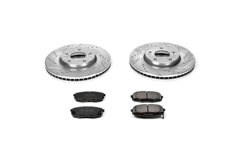 Power Stop K6602 Front /& Rear Brake Kit with Drilled//Slotted Brake Rotors and Z23 Evolution Ceramic Brake Pads