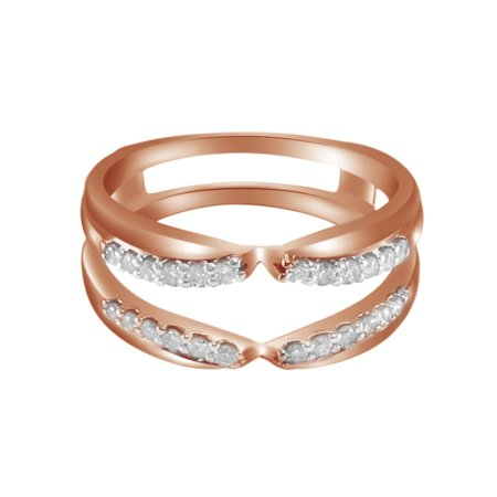 White Natural Diamonds Solitaire Engagement Guard Wrap Enhancer Ring 14k Rose Gold (0.27 Cttw)