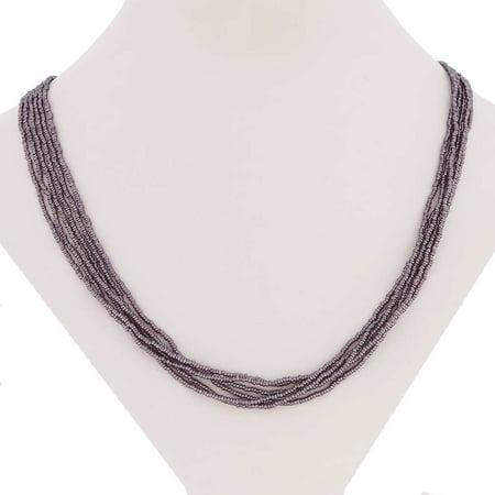 GlassOfVenice Murano Glass Six Strand Seed Bead Necklace - Light Purple Murano Cat Necklace