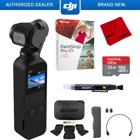 DJI Osmo Pocket Handheld 3 Axis Gimbal Stabilizer Camera Attachable to Smartphone, Android, iPhone Filmaker Bundle with Hard Travel Case,Sandisk Ultra 32GB High Speed Micro SD Card + Corel Pro