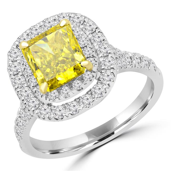 Majesty Diamonds MD170146-7.25 2.37 CTW Radiant Vivid Yellow Diamond Vintage Double Halo Engagement Ring in 14K White Gold - 7.25 - image 1 of 1
