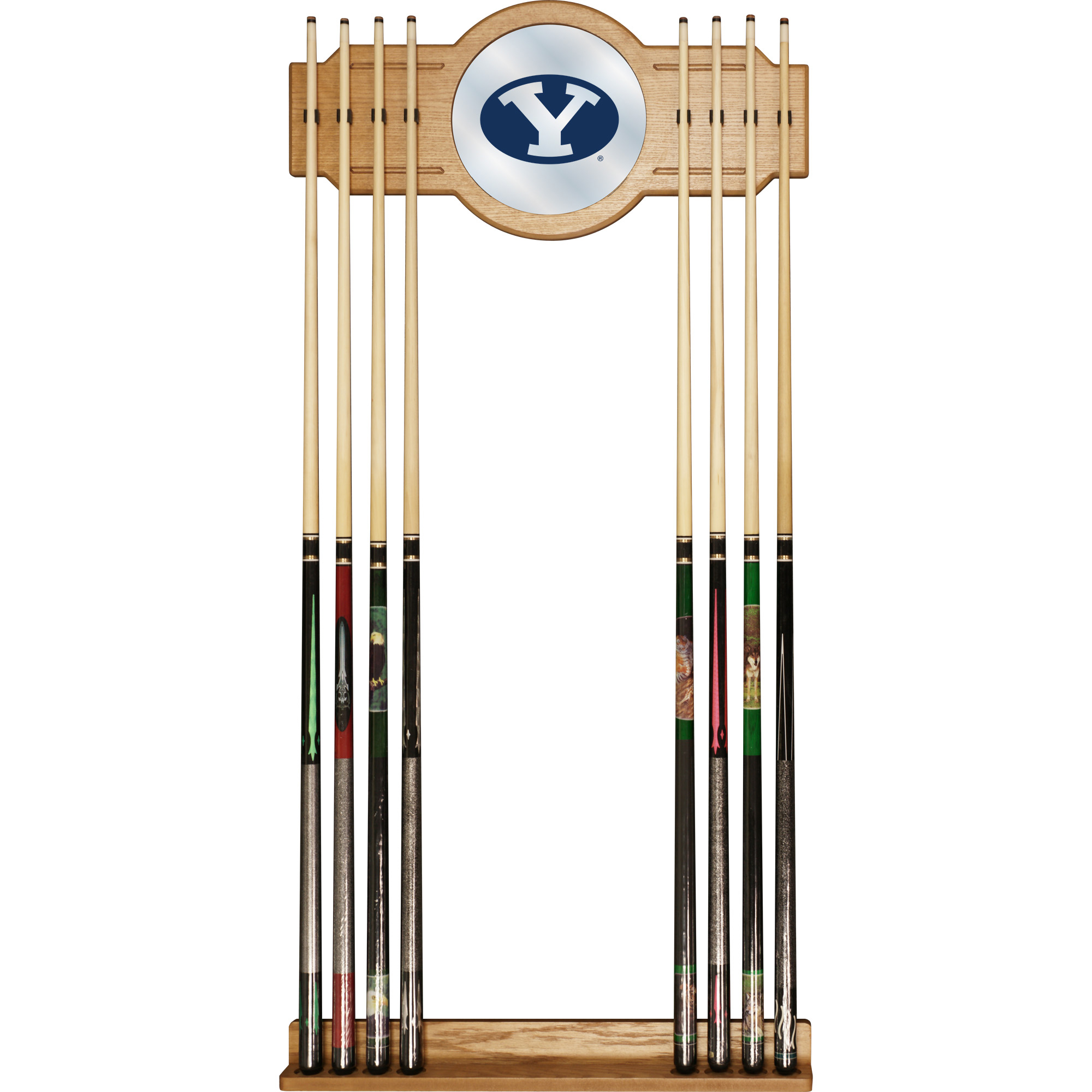 Brigham Young University BYU 2-Piece Wood and Mirror Wall Cue Rack