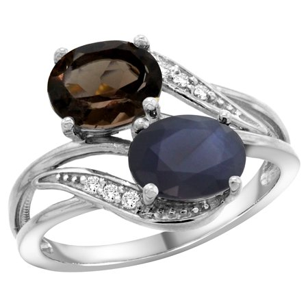14K White Gold Diamond Natural Smoky Topaz & Australian Sapphire 2-stone Ring Oval 8x6mm, size 6