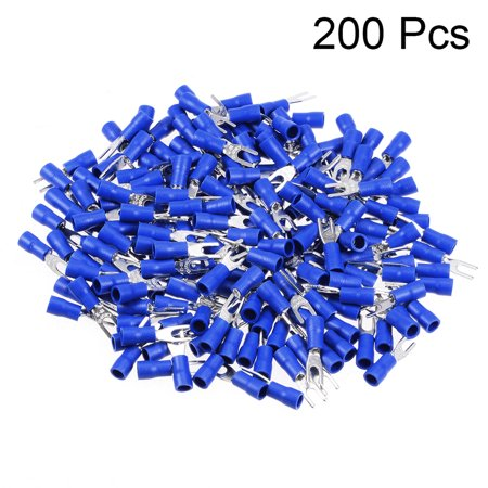 200Pcs SV1.25-3.2 Insulated Fork Spade Wire Connector Electrical Crimp Terminal 22-16AWG Blue - image 1 de 3