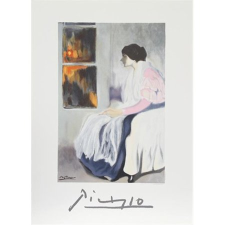 Pablo Picasso 7909 La Soeur De Lartiste  44  Lithograph On Paper 29 In  X 22 In    Blue  44  Gray  44  Pink