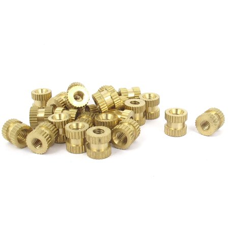25 Pcs #8-32x8mm(L)x8mm(OD) Metric Threaded Brass Knurl Round Insert Nuts - image 1 de 1