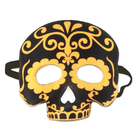 Pack of 6 Halloween Gold and Black Day of the Dead Half Mask with Elastic 10