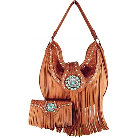 Western Cowgirl Concealed Carry Fringe Concho Agate Handbag Hobo Shoulder Handbag With Matching Wallet In Tan