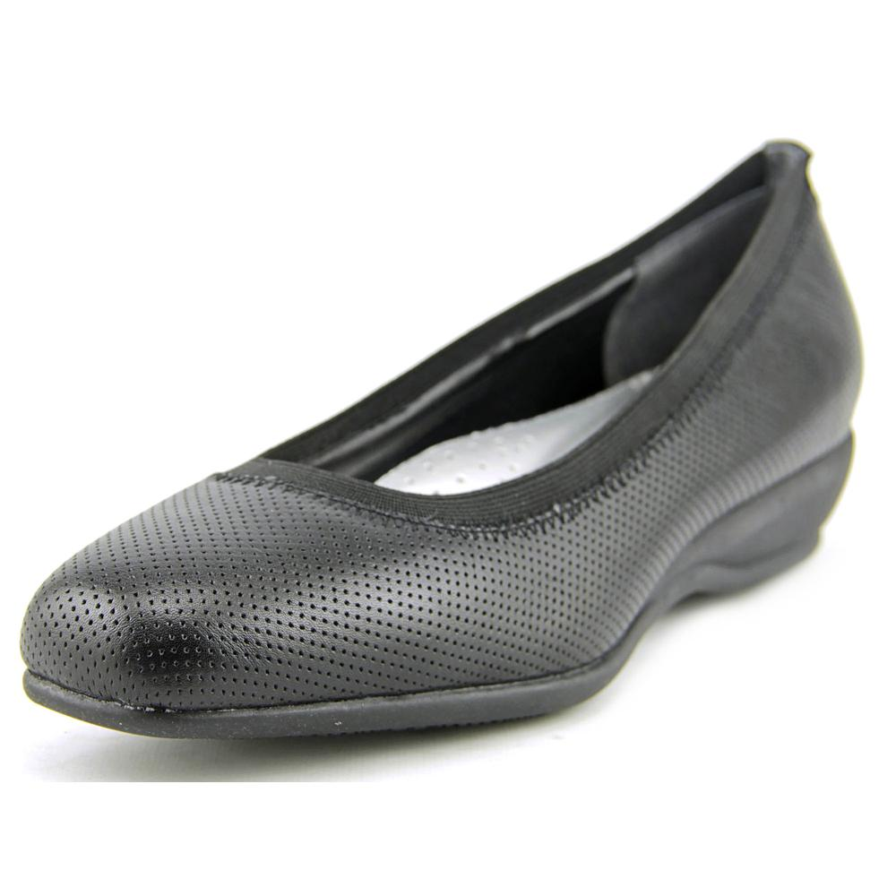 Trotters Lansing Women Open Toe Leather Black Wedge Heel by Trotters