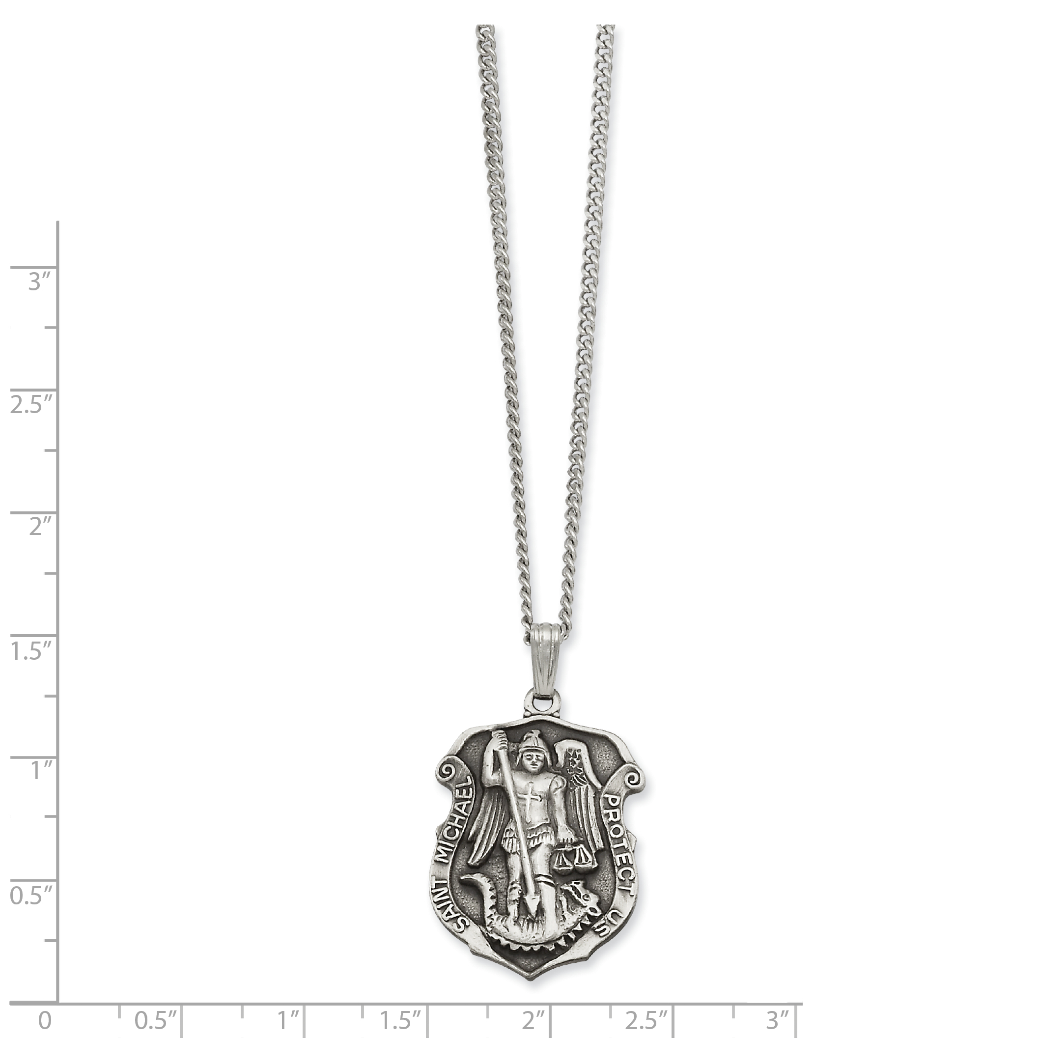 24in Kelly Waters Saint Michael Medal Chain Necklace Pendant Charm Religious Patron St Fashion Jewelry Gifts For Women For Her - image 1 de 2