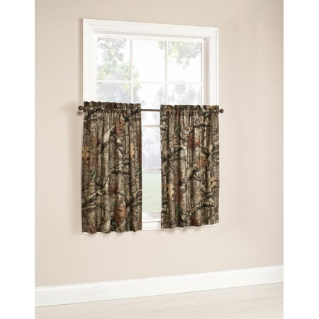 Mossy Oak Camouflage Curtain Tier Pair - 75% Polyester / 25