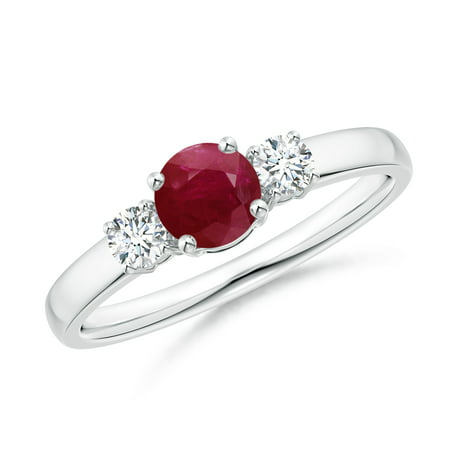 Estate Platinum Ruby - July Birthstone Ring - Classic Ruby and Diamond Three Stone Engagement Ring in Platinum (5mm Ruby) - SR0160R-PT-A-5-7