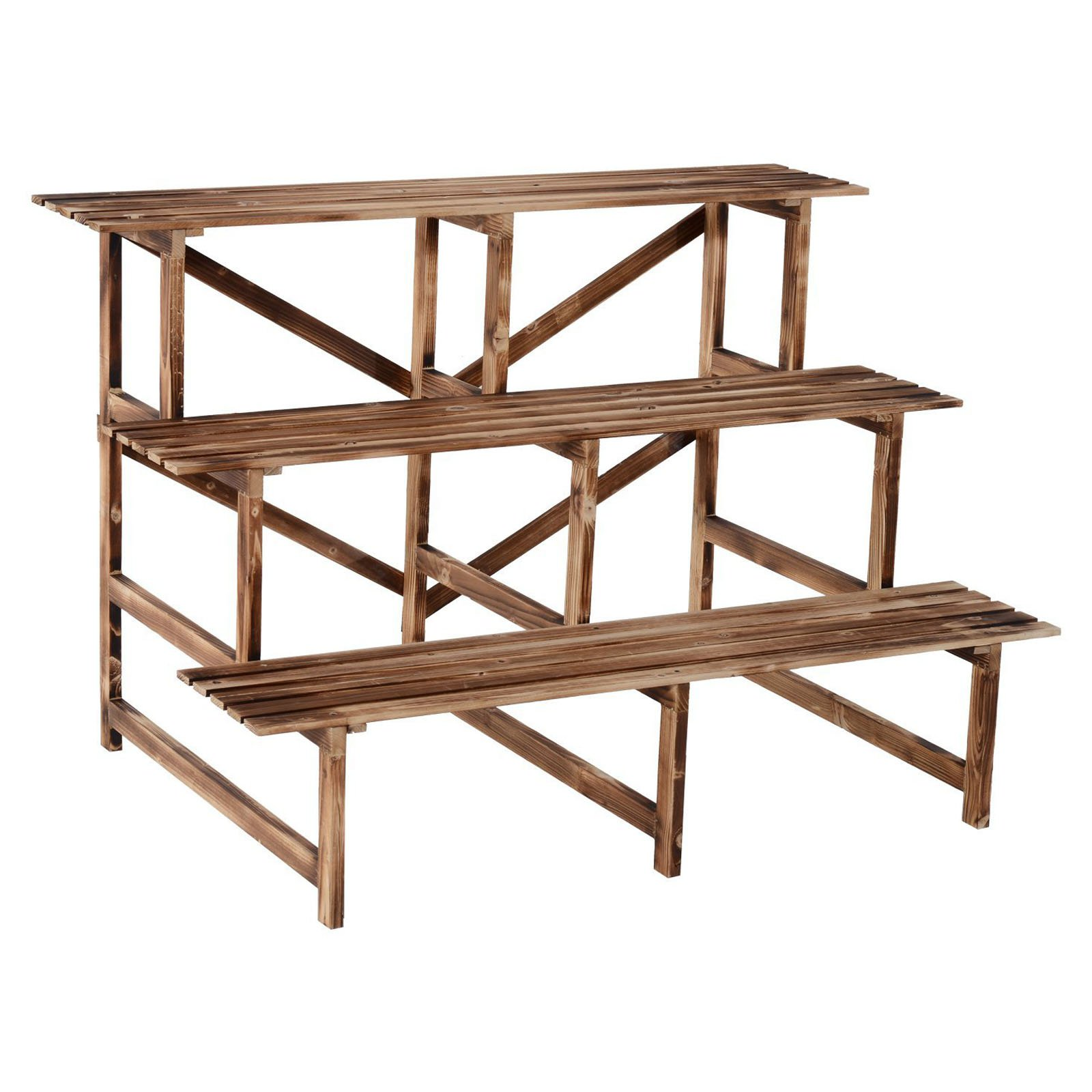 Outsunny 47 in. Wooden 3 Tier Step Style Plant Stand