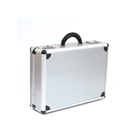 Hard Aluminum Attache Case Business Professional 2 Combination Locks Briefcase Silver One Size