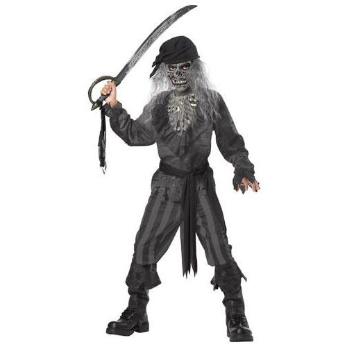 Boys Ghost Pirate Zombie Costume Large Size 10-12
