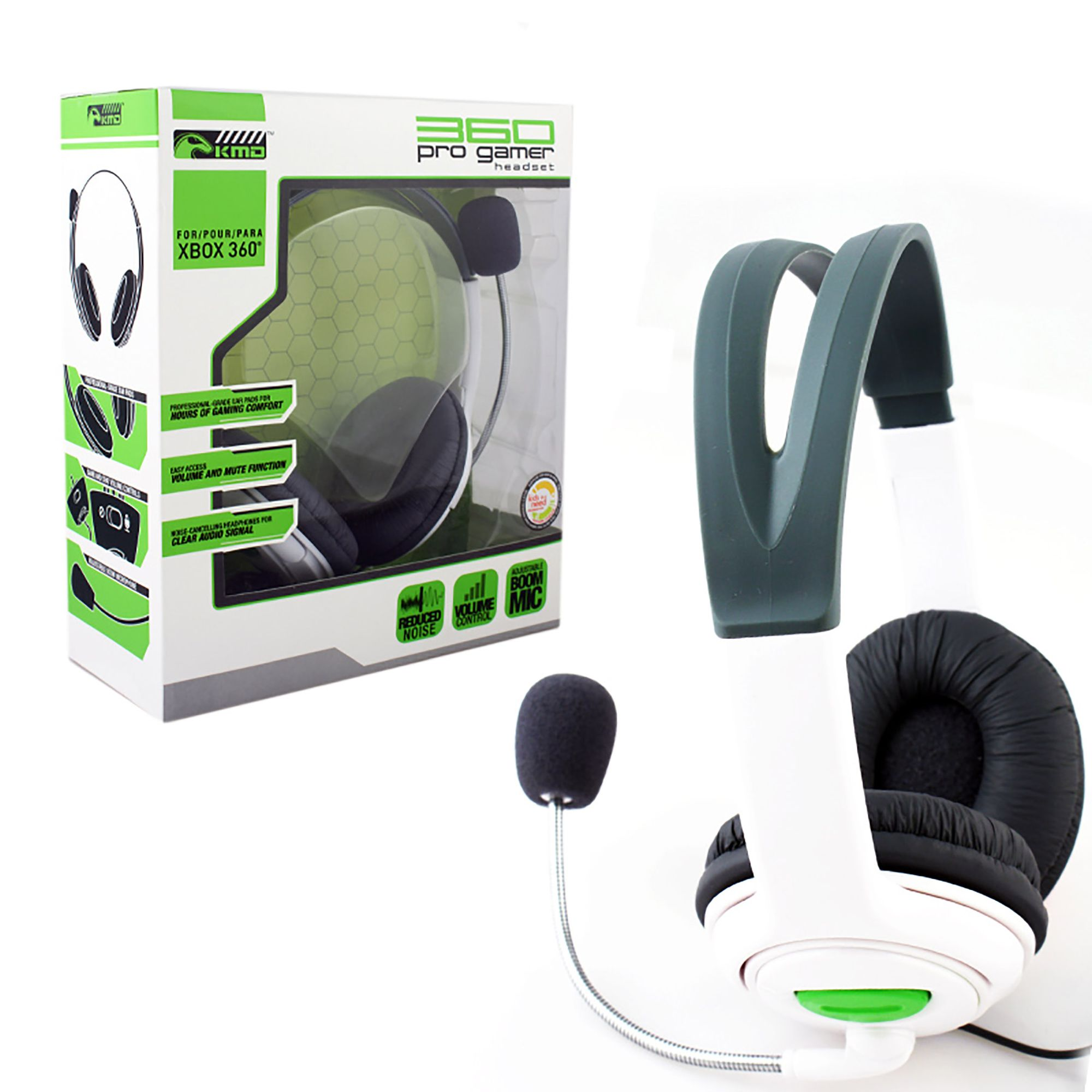 Xbox 360 Headset with Mic Xbox 360 Headphone by KMD Live Chat Headset With microphone For Microsoft Xbox 360 White Large