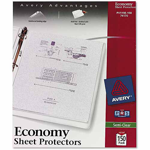 Avery Top-Load Poly Sheet Protectors, Economy Gauge, Letter, Semi-Clear, 150-Pack