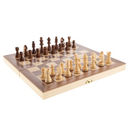 Chess Set with Folding Wooden Board-Beginner's Portable Game by Hey! Play! (Mini Portable Chess Set)