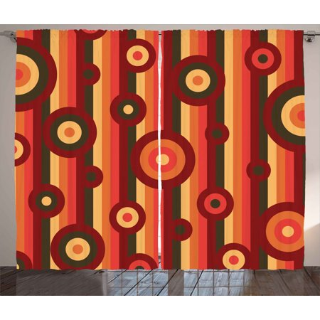 Retro Curtains 2 Panels Set, Colorful Abstract Funky Pattern Circles and Dots on Striped Background Geometric Art, Window Drapes for Living Room Bedroom, 108W X 90L Inches, Multicolor, by Ambesonne Amy Dot Stripe